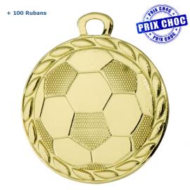 Lot de 100 médailles sportives en or Ø32 Football + 100 RUBANS !