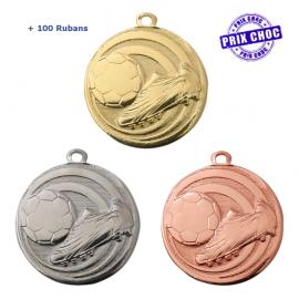 Lot de 100 médailles sportives Football Ø32 + 100 RUBANS !