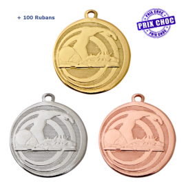 Lot de 100 médailles sportives Natation Ø45 + 100 RUBANS !