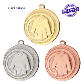 Lot de 100 médailles sportives Judo/Karaté Ø45 + 100 RUBANS !