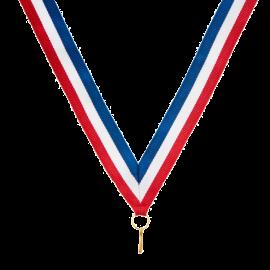 Ruban pour médaille sportive Bleu/Blanc/Rouge   80 cm x2,2 cm