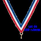 Lot de 100 rubans pour médailles sportives Bleu/Blanc/Rouge   80 cm x 2,2 cm