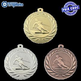 Lot de 100 médailles sportives Ski Ø50