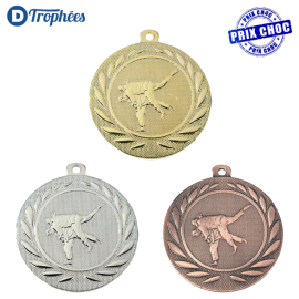 Lot de 100 médailles sportives Judo Ø50