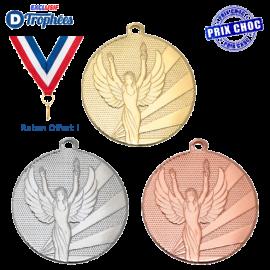 Lot de 100 médailles sportives Ø32 Victoire (+ 100 Rubans offerts !)