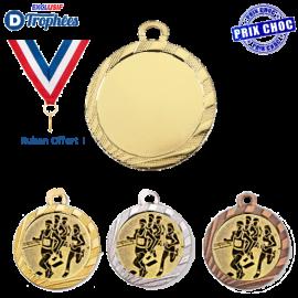 Lot de 100 médailles sportives Ø32 centre Ø25 + 100 Rubans offerts