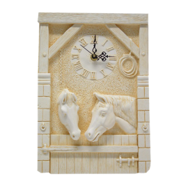 Pendule Murale Chevaux-Box ~32x22 cm