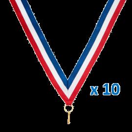 Rubans LI1 Bleu/Blanc/Rouge   80 cm x2,2 cm (x10)